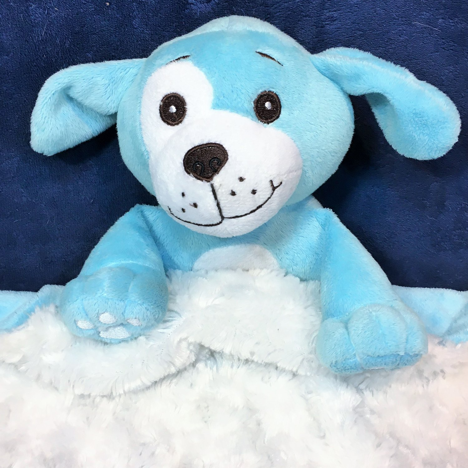 Kinder Keepsakes RARE Blue Plush Puppy Dog Security Baby Luvi Blanket Lovey 17""