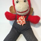 RARE Vintage Monkey Red Plush Chimp Stuffed Ape Animal Toy Gingham Tie 14""