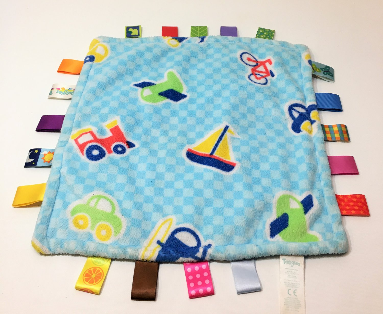 Taggies Baby Security Blanket Airplane Helicopter Car Bike Sailboat Satin Tags