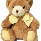 """Carters Teddy Bear Brown Plush Baby Rattle Yellow Gingham Bow Prestige Toy 7"""""""