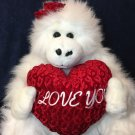 RARE Gorilla Plush JUMBO Ape I Love You Heart White XLarge Stuffed Toy 2' Feet