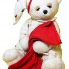 Aurora Sleepy Christmas Bear Plush RARE White Teddy in Pajamas w/ Baby Blanket