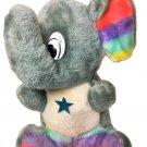 Vintage Shalom Toy Plush Elephant RARE Gray Stuffed Animal Rainbow Pride Colors