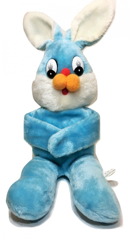 "Vintage S.O.S. Bunny Rabbit Baby Blue White Stuffed Plush Animal 21"" Korea"