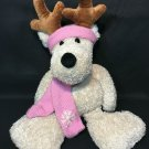 Rare Commonwealth Reindeer Plush Ivory Cream Floppy Stuffed Animal Pink Scarf