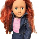 "Our Generation Battat Red Hair Doll Blue Eyes Denim Jeans Outfit 18"" Girls Toy"
