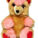 "Vintage Pink Rose Teddy Bear Plush Brown Stuffed Animal Red Ears & Feet 11"""