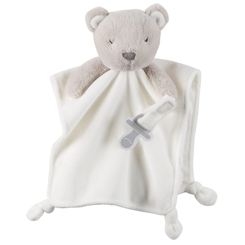 Carters Gray Teddy Bear Rattle Pacifier Holder Loop Ivory White Security Blanket