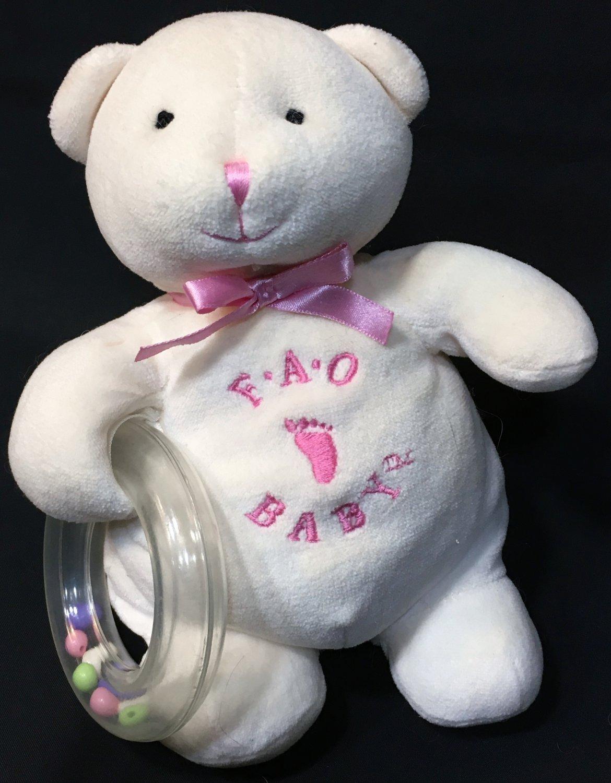 "FAO Schwarz Baby Bear Rattle Ring Ivory Cream Pink Plush Stuffed Animal Toy 7"""