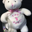 FAO Schwarz Baby Bear Rattle Ring Ivory Cream Pink Plush Stuffed Animal Toy 7""
