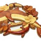 "Island Wood Treasures Hand Carved Hawaiian Dolphins Wall Decor Plaque Brown 7"""