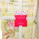 "Isaac Mizrahi Spring Easter Bunny Rabbit Flowers Tablecloth 60"" X 84"" Yellow NEW"