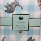 """Well Dressed Home Blue Gingham Easter Bunny Rabbit Tablecloth 60""""x 102"""" NEW"""