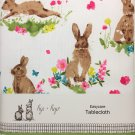 "Hip + Hop Easter Bunny Rabbits Floral Linen Tablecloth Oblong 60"" x 104"" NEW"