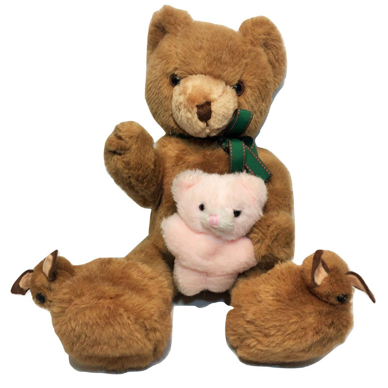 Schmid Musical Plush Jointed Teddy Bear in Slippers Vintage 1984 Gordon Fraser