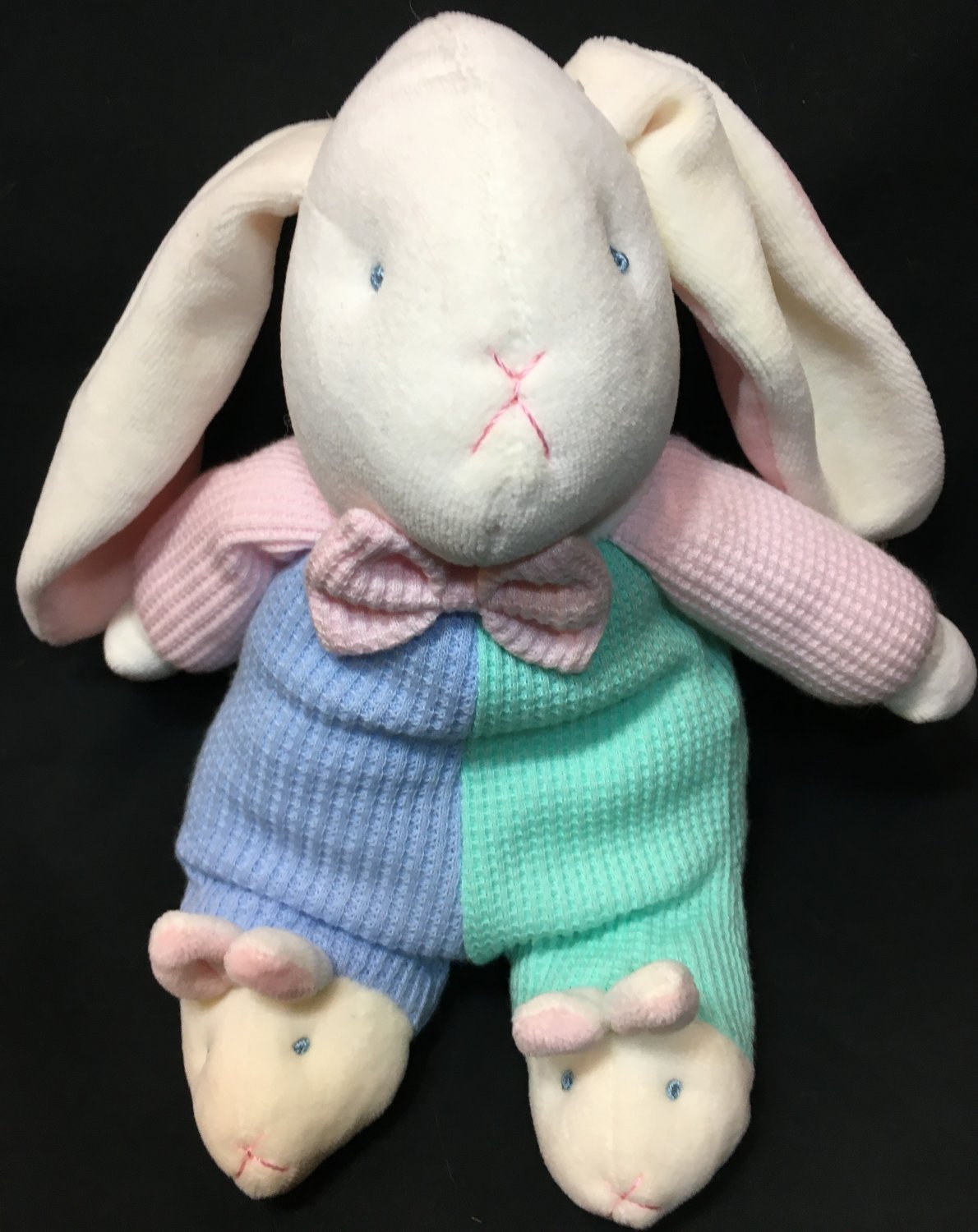Soft Dreams Pastel Thermal Waffle Knit Bunny Rattle RARE Plush Rabbit Slippers