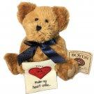 """Boyds Bears Plush Smiley B Bear 8"""" Fabric Heart Smile Thinkin Of Ya Card 903094"""