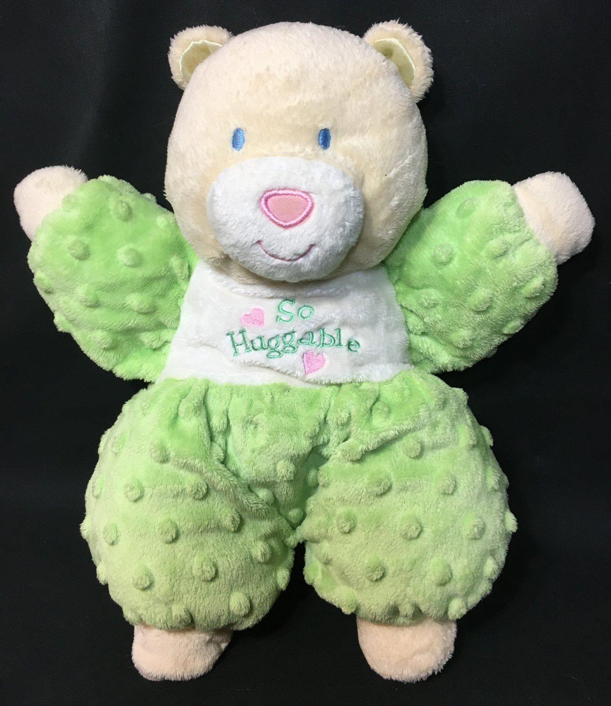 """Kids Preferred Green So Huggable Bear Minky Dot Beige Plush Stuffed Baby Toy 12"""""""