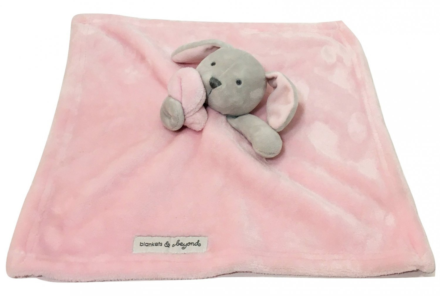 Blankets And Beyond Gray Bunny Rabbit Pink Plush Lovey Baby Security Blanket