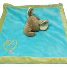 "Unipak Gray Elephant Blue Plush Baby Blanket Gold Moon & Stars Olive Green 11""sq"