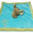 "Unipak Gray Elephant Blue Plush Baby Blanket Gold Moon & Stars Olive Green 11""sq"