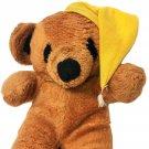 "Vintage Interpur Goodnight Teddy Bear Brown Plush Yellow Sleeping Night Cap 12"""