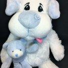 "Petting Zoo White Puppy Dog Sad Eyes holds Blue Teddy Bear Stuffed Plush Toy 15"""