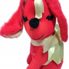 """RARE HTF Vintage Commonwealth Red Puppy Dog Plush Stuffed Doll Bows Taiwan 8.5"""""""