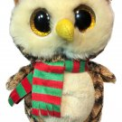 Ty Beanie Boos Wise the Owl Plush Stuffed Animal Gold Glitter Eyes Scarf 6""