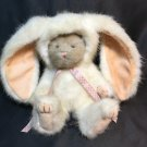 """Boyds Bears Plush Bear in White Bunny Suit Costume #91861 Pink Ribbon 8"""""""