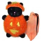 RARE Bath & Body Works Halloween Black Cat in Pumpkin HTF Plush Stuffed Animal