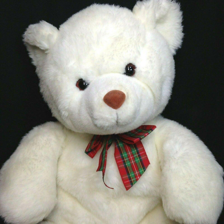 "Gund White Teddy Bear Plush HTF Large 20"" Stuffed Animal Cuddle Toy Plaid Bow"