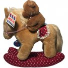 Vintage Dakin Plush Rocking Horse & Friend Bear 1985 Americana Stuffed Animal