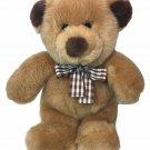 "HTF Gund Teddy Bear Plush Tan Plaid Bow Stuffed Animal Brown Paws Ear Spots 10"""