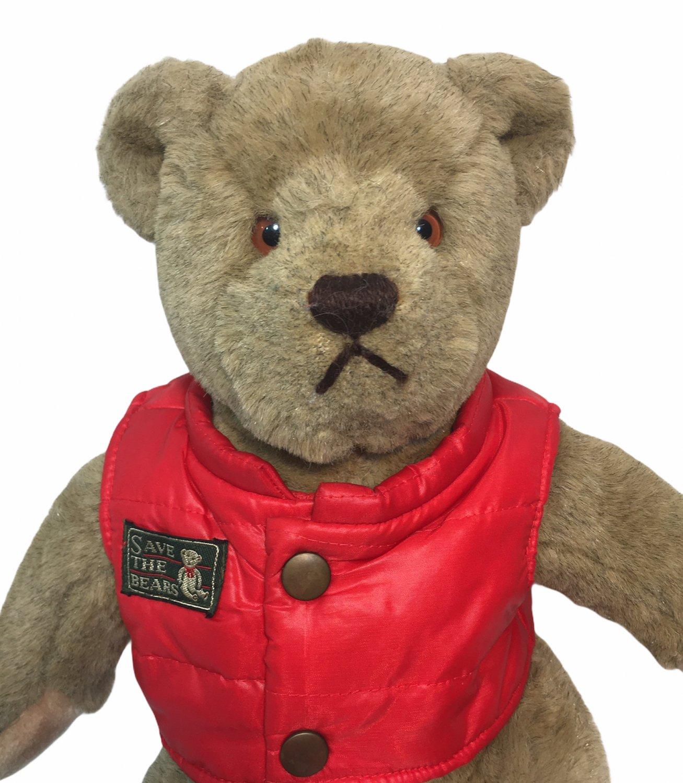 "Gund Bialosky Save The Bears Teddy Bear Plush Brown 14"" Stuffed Animal Red Vest"