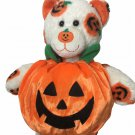 Build a Bear White Teddy in Orange Pumpkin Jack-o-Lantern BABW Plush 15""