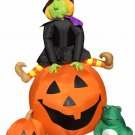 Gemmy 8' Halloween Pumpkin Jack o Lantern Witch Frog Airblown Blowup Inflatable