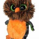 "Ty Beanie Boo Midnight Halloween Owl Orange Black Night Bird 6"" - No Tags"