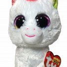 """NEW Ty Pixy White Unicorn Beanie Boos Rainbow Sparkle Eyes 6"""" NWT"""