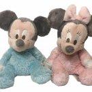 Mickey Minnie Mouse Disney Plush Pastel Pink Blue Chimes Baby Toy Stuffed Animal