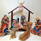 Nativity Set Religious Jesus Creche Wisemen Kings LARGE 13pc Set Manger Catholic