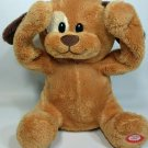 """Animated Peekaboo Plush Puppy Dog Brown Stuffed Toy Moves Arms Giggles Sound 9"""""""