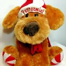 "Dan Dee Peppermint Puppy Dog Brown Plush Stuffed Animal w Hat & Scarf 12"" Pup"