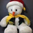 "Holiday Snowman White Plush International Bazaar w/ Hat Scarf Vest 18"""