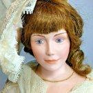 "Thelma Resch Rare Victorian Lady Vintage Porcelain Doll Peach Cream Dress 19"""