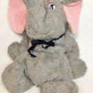 "Haan Crafts Vintage Handmade Plush Elephant Grey Stuffed Animal 14"" Pink Ears"