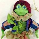"Green Frog Court Jester Ornament Gold Burgandy Glitter Costume Figure 10"""