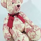 "Target Teddy Bear Plush RARE Red Design Print Cupid Victorian Bow Ribbon 12"""
