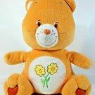 "Orange Care Bear Plush Teddy Flowers Friends 2003 Stuffed Animal Nanco 14"" Large"