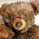 Vintage Teddy Bear Plush Cuddle Wit Dark Chestnut Brown Grizzly Stuffed Animal